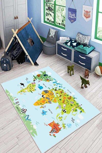 NeluxHome Kaymaz Tabanlı Makinede Yıkanabilen Dünya Haritası Eğitici Çocuk Halısı Kd081
