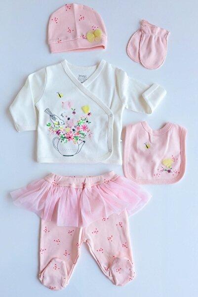 İmaj Kız Bebek Pembe Çiçek Desenli 5 Parça Takım