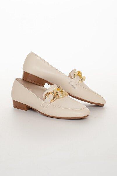 Lumis Shoes Kadın Krem Günlük Ayakkabı Lofer