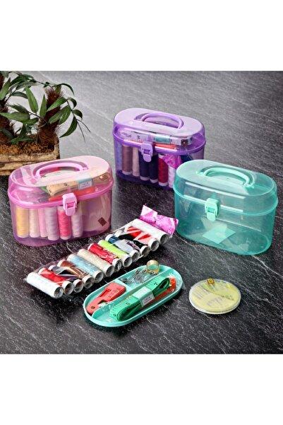 DENİZ TASARIM Renkli Dikiş Seti Plastik Kutusu Iğne Iplik Mezuralı Set 1 Kutu