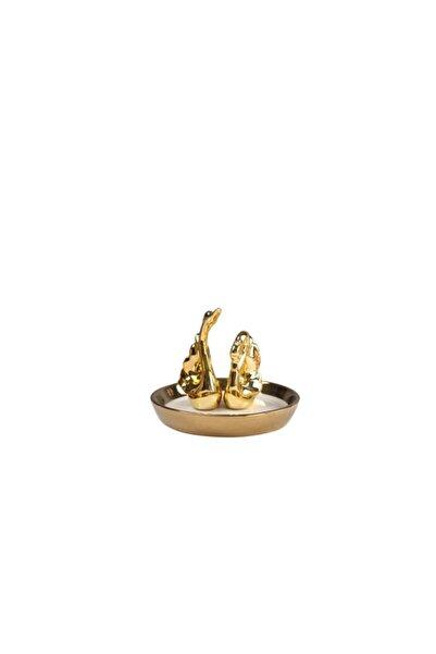 HOMENIVA Gold Kuğu Dekoratif Seramik Yüzüklük