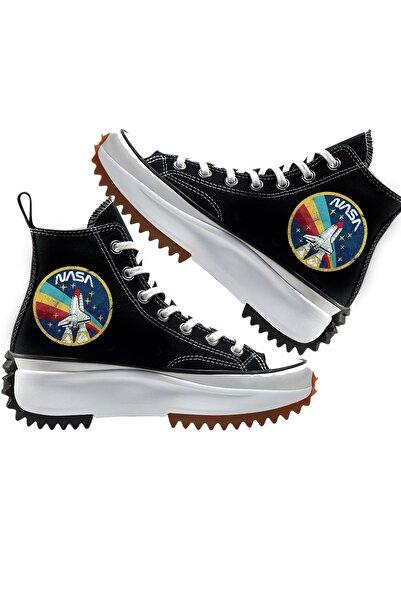 Art's Kadın Siyah Renkli Nasa Baskılı Kalın Taban Sneaker Ayakkabı