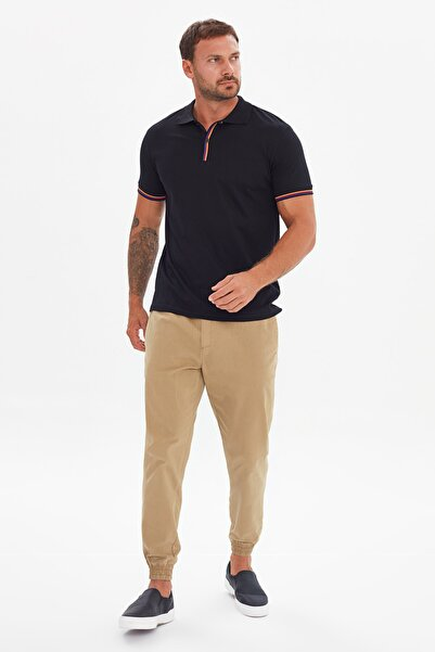 TRENDYOL MAN Siyah Erkek Regular Fit Kısa Kollu Polo Yaka T-shirt TMNSS21PO0121