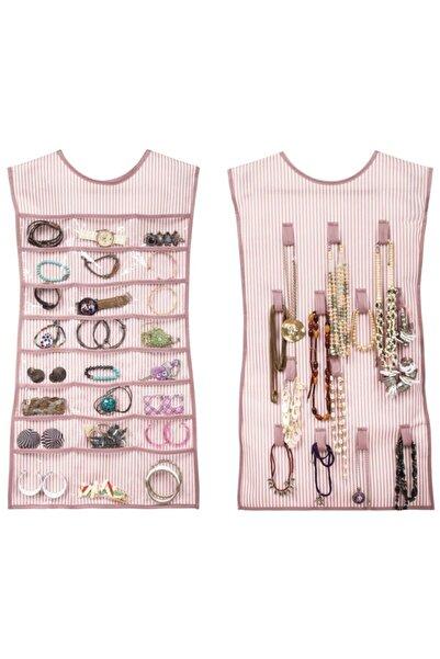 Keven Home Askılıklı Takı Organizeri - Kıyafet Şeklinde Takı Organizeri - Ön&arka Olarak Kullanılabilir.-pembe
