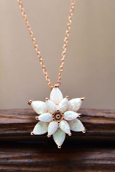 Papatya Silver Kadın Beyaz Opal Taşlı Kamelya Gümüş Kolye