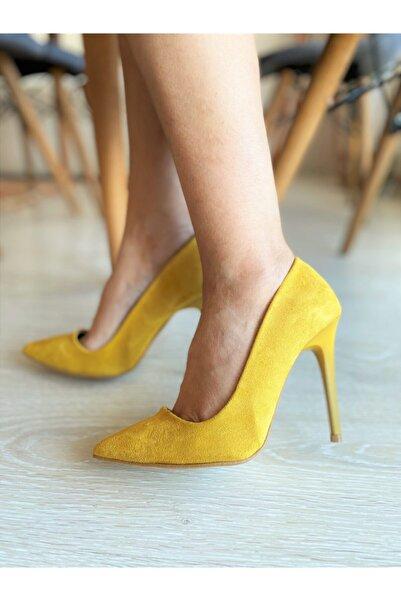 SHEWINA Kadın Hardal Renk Çok Şık Süet Stiletto Sheıla