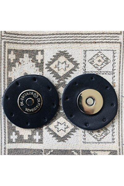 Alfa Tasarım Gümüş Mıknatıslı Yuvarlak Hakiki Deri Çanta Çıtçıtı - Lacivert Rengi