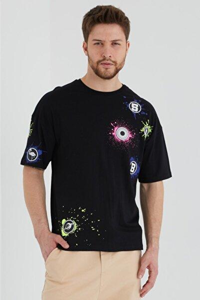 BREEZY Siyah Unisex Oversize Pamuklu Baskılı Tshirt Renkli Dünyalar