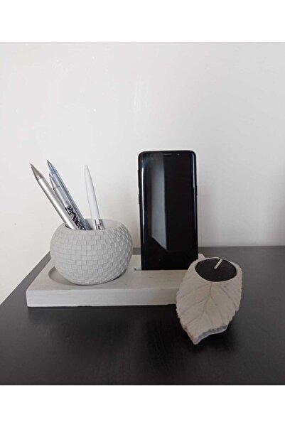 BurDen Dekoratif Ürünler & Tasarım 3'lü Ofis Hediye Seti Telefon Tutucu Saksı Ya Da Kalemlik Tealight Yaprak Mumluk