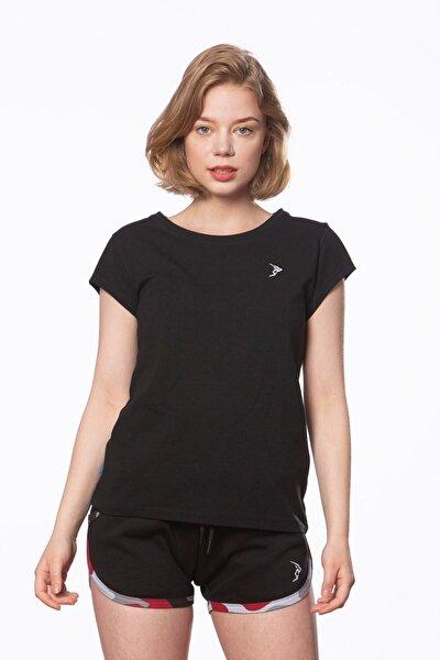 Gymlegend Kadın Siyah Süprem Kısa Kollu Basic Tişört