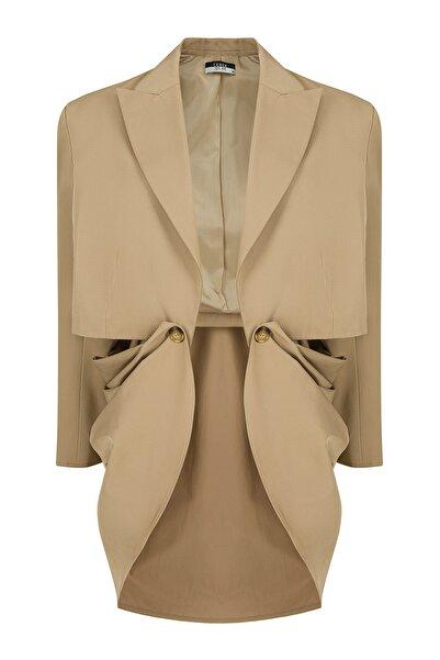 CEREN OCAK Kadın Bej Pelerinli Ceket
