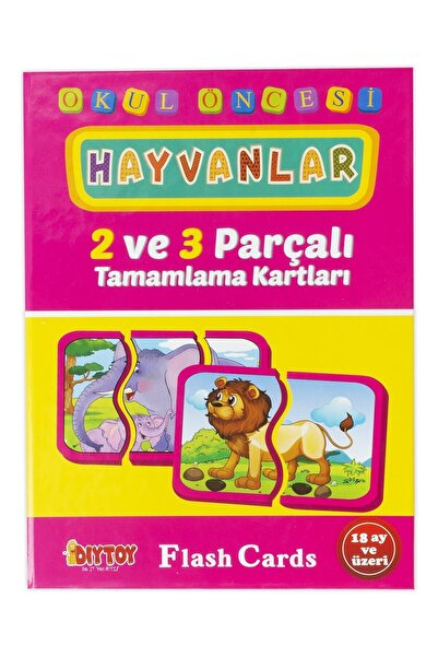 DIYTOY 2-3 Parça Tamamlama Kartları Hayvanlar Puzzle Yapboz