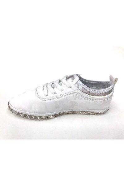 Markopark Kadın Beyaz Taşlı Streç Bağcık Günlük Spor Ayakkabı