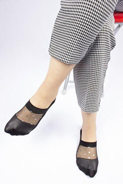 Dr.socks Kadın Siyah Tüllü Gümüş Yıldız Baskılı Babet Çorap
