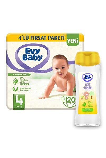 Evy Baby Bebek Bezi 4 Beden Maxi 120 Adet Ve Bebek Şampuanı 250 ml Yeni