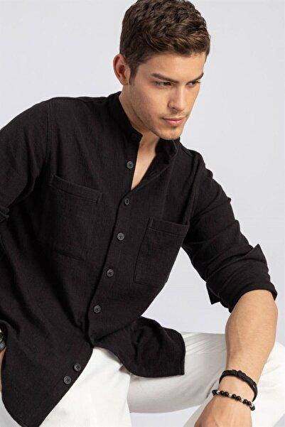Tudors Erkek Siyah Relax Fit Çift Cep Uzun Kol Örme Gömlek