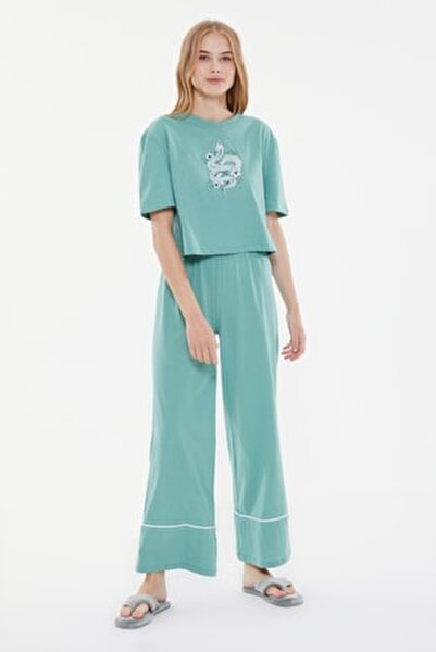 Yeşil Baskılı Örme Pijama Takımı THMSS21PT0953