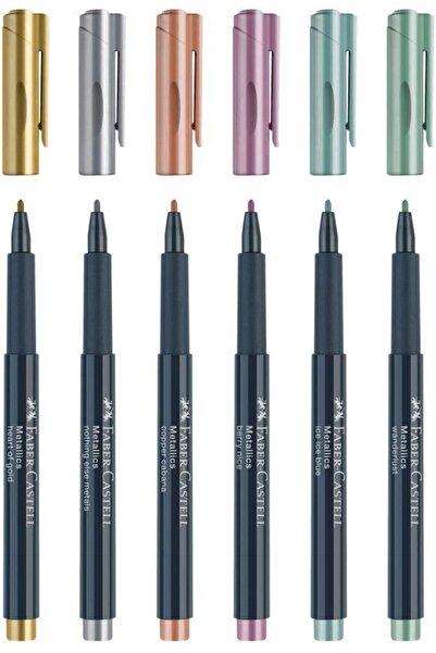 Faber Castell Metalik Markör Keçe Uçlu Davetiye Kalemi 6'lı Set