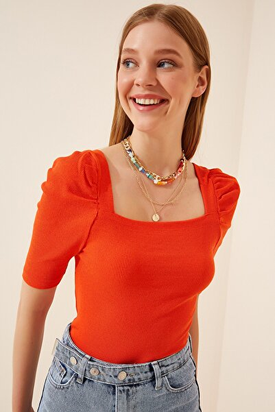 Happiness İst. Kadın Oranj Kare  Yaka Fitilli Crop Bluz GT00007
