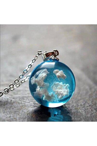Bevade Butik Unisex Gümüş Renk Zincirli Gökyüzü Bulut Kolye
