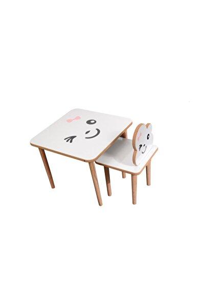webkapinda Çocuk Beyaz Ahşap Masa Sandalye Takımı 1 Sandalye 1 Masa Oyun Masası 0101kız