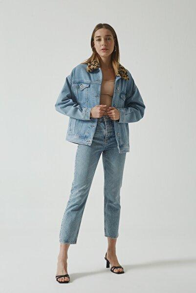CROSS JEANS Eliza Cropped Mavi Yüksek Bel Straight Fit Düğmeli Jean Pantolon C 4518-021