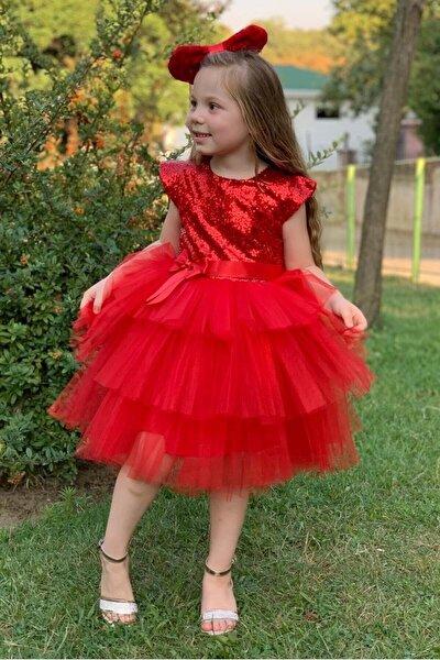 Pumpido Kız Çocuk Kırmızı Renk Pul Payetli 5 Yaş  Abiye