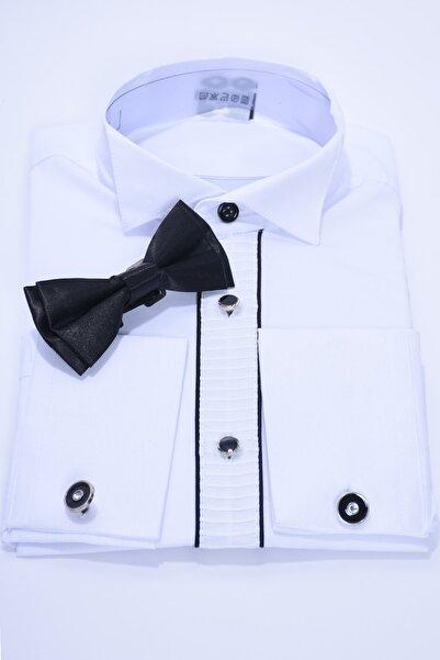 ceocuk Çocuk Beyaz Renk Siyah Biyeli Papyonlu Uzun Kol Kol Düğmeli Çocuk Gömleği