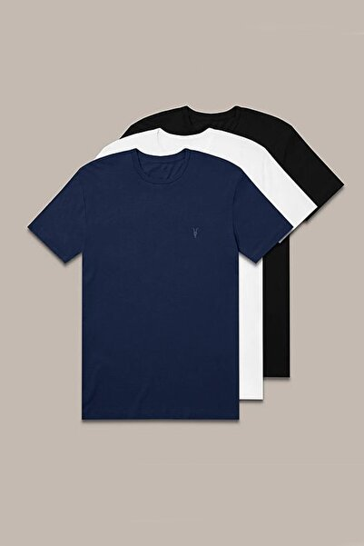 CMBCOMBİNE MİCHAİL Erkek Siyah Beyaz Lacivert 3'lü Paket Tişört 1000
