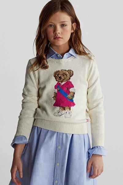 Polo Ralph Lauren Kids Kız Çocuk  Ekru Polo Bear Triko