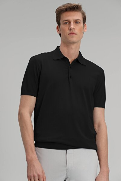 Lufian Palma Pamuk Triko Polo T- Shirt Siyah