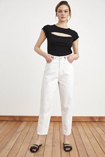 Love My Body Kadın Beyaz Dikiş Detaylı Pantolon