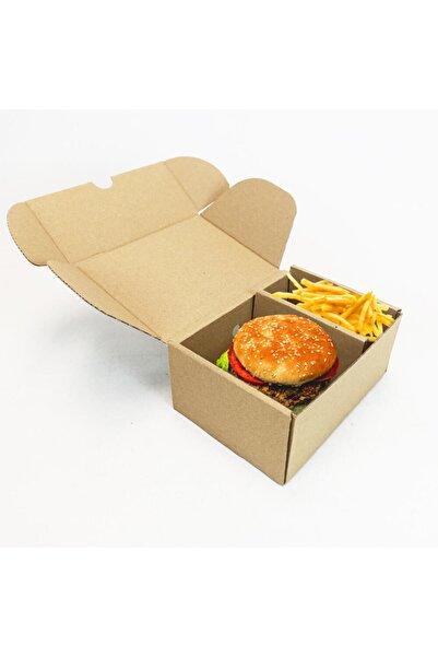 Unipak Ambalaj Hamburger Kutusu Esmer - 18,4x13x8 cm - 1 Desi menü - 100 Adet