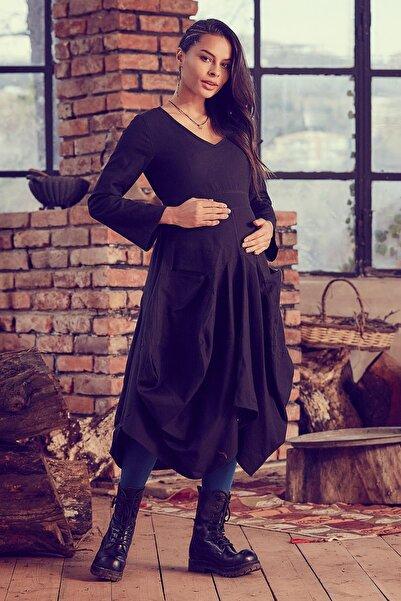 Los banditos Kadın Siyah V Yaka Balon Etekli Hamile Elbise
