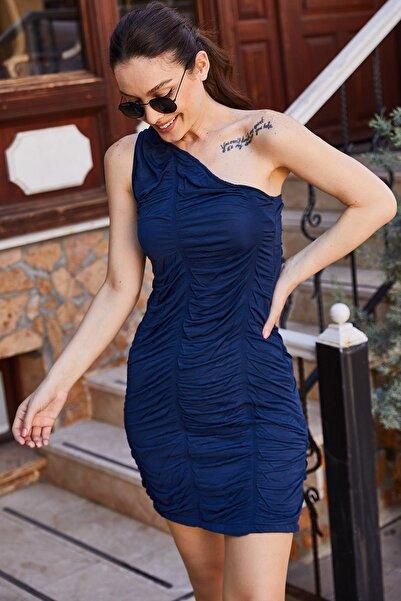 armonika Kadın Lacivert Tek Omuzu Açık Bürümcüklü Elbise ARM-21K001196