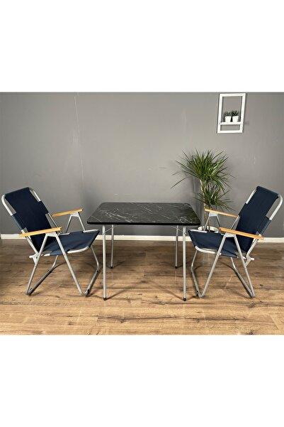 Berta Concept Jardinero Katlanır Ahşap Kollu 2 Adet Lacivert Sandalye 1 Adet 60x80 Masa Balkon Bahçe Takımı