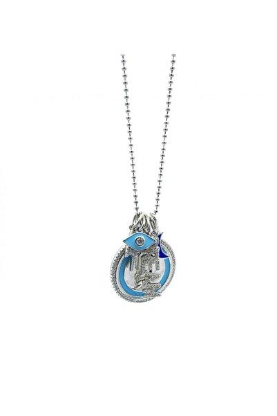 Bigrazia Kadın Mavi Renkli Figür Detaylı Gümüş Kolye