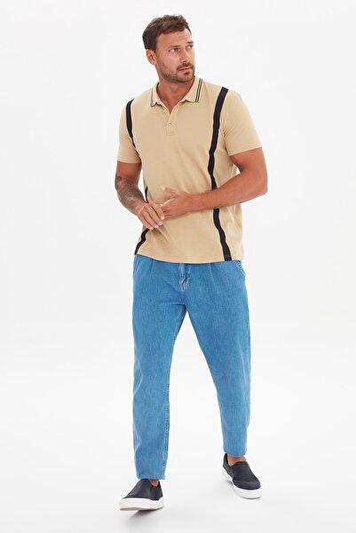 TRENDYOL MAN Bej Erkek Slim Fit Kısa Kollu Çizgi Detaylı Polo Yaka T-shirt TMNSS21PO0168