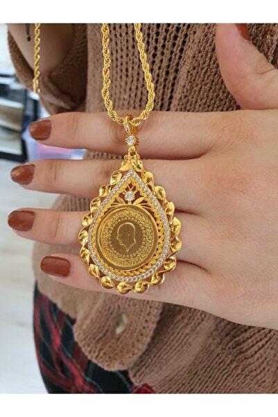barış gold altın kaplama 22 Ayar Altın Kaplama 60 Cm Zincirli Zirkon Taşlı Yarım Altın Ebatlı Kolye