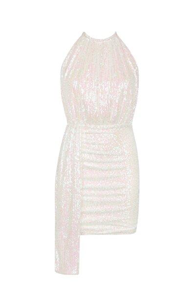 Love On Friday Brooklyn Halter Yaka Kuyruklu Elbise (beyaz Payetli)