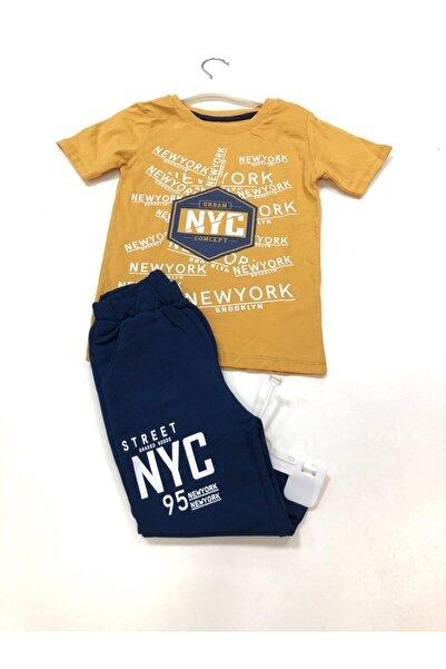 NYC Erkek Çocuk Sarı Consept Alt Üst Kaprili Takım