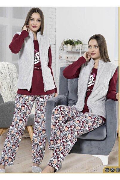 Fancy Bayan Polar Yelekli 4parça Pijama Takımı Patikli
