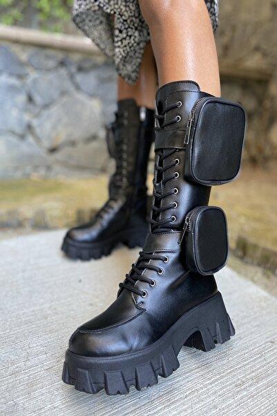 İnan Ayakkabı Bayan Yan Tarafı 2 Adet Cep Detaylı Fermuarlı Çizme