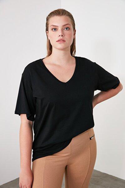 Siyah %100 Pamuk V Yaka Boyfriend Örme T-Shirt TWOSS20TS0132