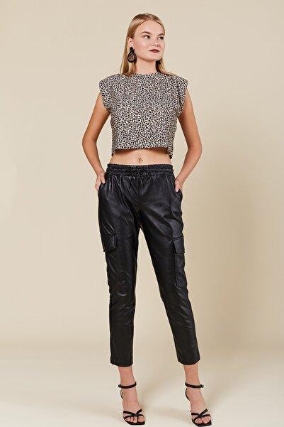Coral Kadın Siyah Kargo Cepli Deri Pantolon 83336