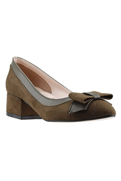 Ayakland Kadın Yeşil Süet Topuklu Ayakkabı