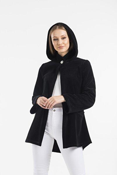 Balo Moda Kadın Siyah Kapüşonlu Softshell Panço