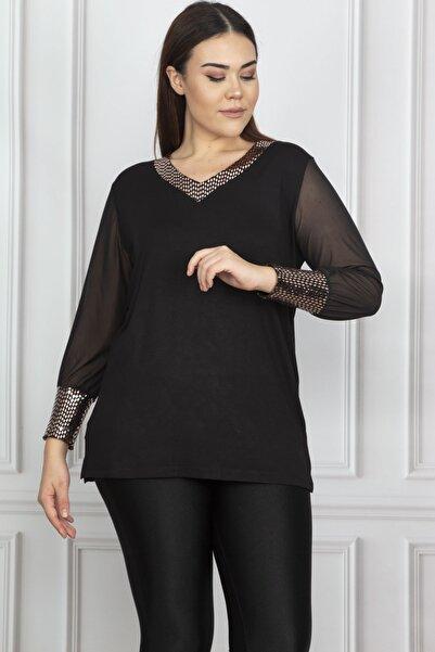 Şans Kadın Siyah Kolları Şifon Payet Detaylı Bluz 65N17695