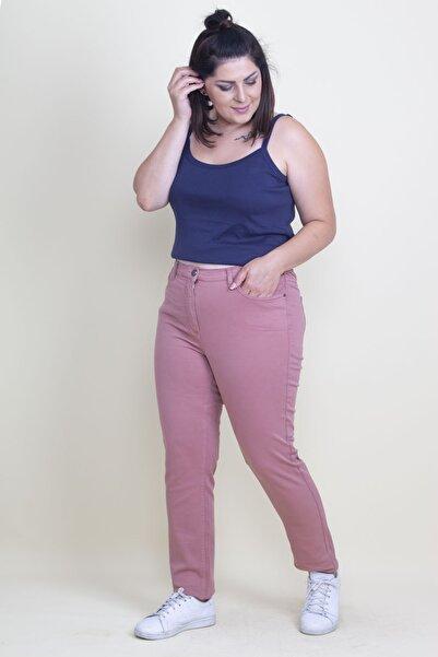 Şans Kadın Gül Kurusu Beli Yarım Lastikli 5 Cep Kot Pantolon 65N17714