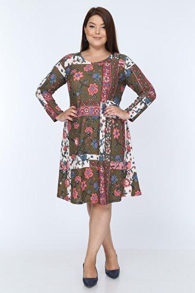 Mooi XXL Kadın Haki Pembe Çiçek Desenli Büyük Beden Elbise